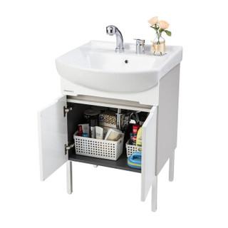 美标卫浴易居系列ME60摩登600mm落地式双门浴室家具含双孔龙头(月光银)