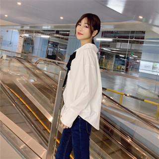 SMEN 诗·萌 雪纺衬衫女 系带长袖上衣直筒显瘦雪纺衬衫 8105616 白色 XL