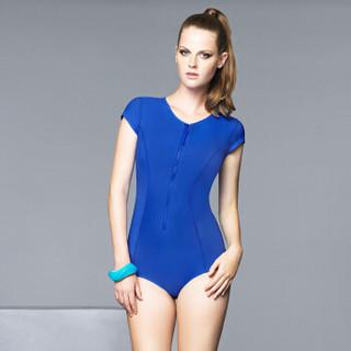 范德安(BALNEAIRE)60697 泳衣女连体 保守遮肚小胸聚拢泳装 专业显瘦温泉浮潜游泳衣 蓝色 M