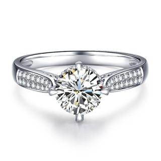 鸣钻国际 许诺 白18k金钻戒女 共约50分钻石戒指结婚求婚女戒 情侣对戒女款 17号