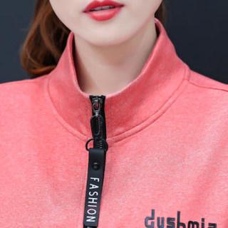 欧偲麦 卫衣女宽松运动套装女休闲两件套2019春秋款女装新款韩版时尚 XTD-91920 粉色 2XL