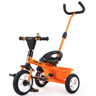 英国Babyjoey 儿童三轮车脚踏车1-3-5岁 简易自行车多功能手推车 TT102 兰博基尼橙