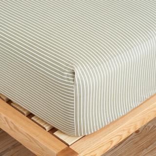 大朴(DAPU)床笠家纺 A类床品 精梳纯棉斜纹床笠 大双人床罩 单件 网格条纹 1.8米床 180*200cm