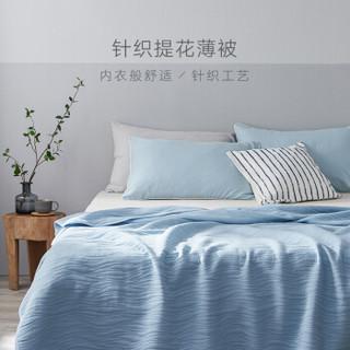 大朴(DAPU)被芯家纺 A类被子 纯棉针织提花夏凉被 针织裸睡薄被 空调被 浅蓝 150*200cm