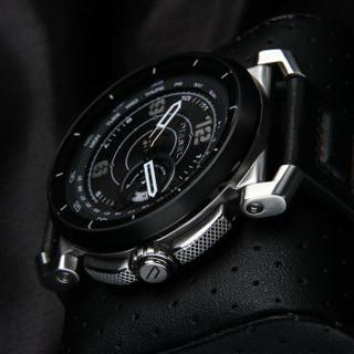 DIESEL 智能手表 银色表壳 黑色皮革表带 活动追踪 通知提醒 自动更新时间日期 第二时区 无需充电 DZT1000