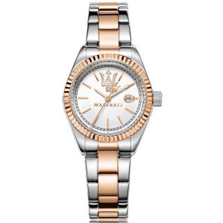 玛莎拉蒂(MASERATI)手表 Competizione系列石英黄金间精钢表带时尚休闲商务女表白色表盘R8853100504