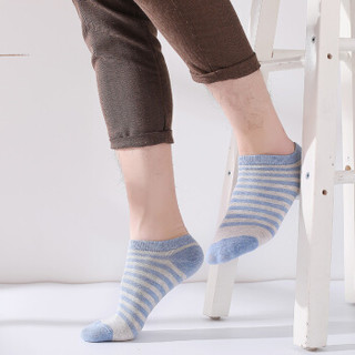 北极绒 撞色条纹男士短袜子男浅口低帮运动舒适小清新船袜男防滑棉质男袜 5双装 均码