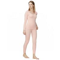 TINSINO 纤丝鸟 保暖内衣女美体内衣毛圈花边领中厚高弹力打底美体衣套装 保暖内衣 柔粉色 M-L(155-165)