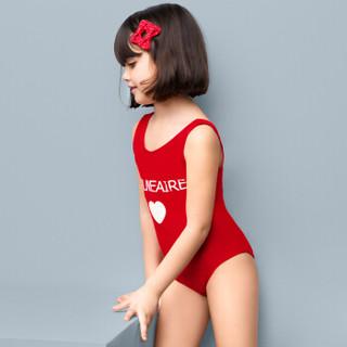 范德安(BALNEAIRE)260025-1 女孩大中童连体游泳衣温泉女童泳装 红色 11-12岁(140-150cm/30-34kg)