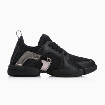 InteRight 运动鞋女 牛皮低帮系带舒适女鞋运动休闲鞋 黑色 36