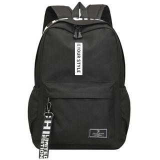 狼性 韩版双肩包男时尚背包运动潮流旅行包学生书包 时尚LXS014黑色
