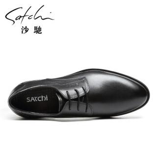 SATCHI 沙驰 男士黑色办公商务皮鞋 40721007Z