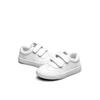 意尔康童鞋2019新品男女童小白鞋皮鞋魔术贴粉色儿童运动鞋ECZ8135410-3W 白色 34