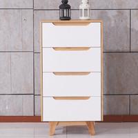 A家家具 床头柜 DA1002 白色 板木结合 日韩风格