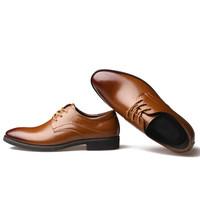 Dahongying 大红鹰 皮鞋男青年商务休闲正装时尚拼接系带尖头花纹DHY9901 黄色 39