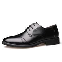 Dahongying 大红鹰 皮鞋男青年商务休闲正装时尚系带圆头二层牛皮DHY9988 黑色 44