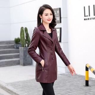 欧偲麦 女皮衣中长款PU皮衣女装皮衣外套女士皮风衣春秋季韩版修身 OMS-020SKA 枣红色 XL