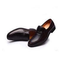 Dahongying 大红鹰 皮鞋男青年商务正装套脚低帮尖头时尚百搭 DHY535 棕色 44