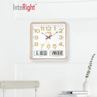 INTERIGHT客厅静音挂钟简约夜光钟表万年历时钟琉璃金