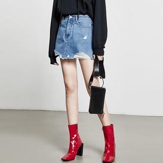 MO&Co. 摩安珂 MT181SKT403 女士高腰不规则牛仔A字裙