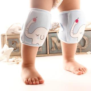 9i9久爱久宝宝爬行护膝2副婴幼儿卡通可调节护肘学步防摔防撞防磕1800767 玫粉+绿