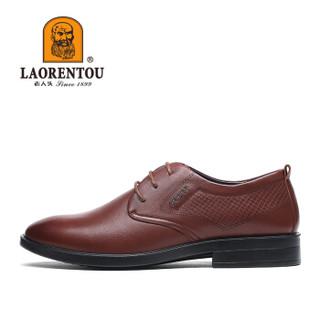LAORENTOU 老人头 男士商务休闲加大码轻便舒适尖头系带皮鞋 1801986