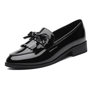 GUCIHEAVEN 古奇天伦 女士时尚休闲百搭英伦风漆皮尖头蝴蝶结低帮粗跟浅口单里小皮鞋 8471 黑色 37
