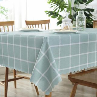 艾薇 桌布布艺防水防油PVC免洗餐桌布茶几布餐桌垫 绿色格子 135*180cm
