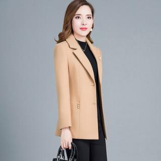 欧偲麦 毛呢大衣女短款加厚呢子大衣女士2018秋冬季外套女新款尼子修身显瘦 LRX-460X 驼色 2XL