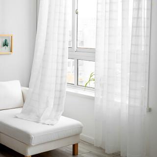 锦色华年窗纱 白色纱帘成品  简约纯色布艺帘客厅卧室透光窗帘(赠送挂钩及孔环)中格 3米宽*2.6米高一片