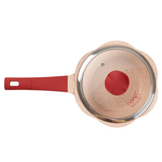 Didinika奶锅不粘锅20cm泡面煮锅一人食电磁炉燃气煤通用红色
