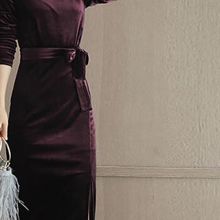 米兰茵 MILANYIN 女装 2019年春季新款长袖中长款H型韩版圆领高腰套头连衣裙 ML19135 酒红色 L