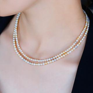 haidi 海蒂 JHYF20180528006 正圆Akoya海水珍珠项链18K金扣 混彩色珍珠 41cm