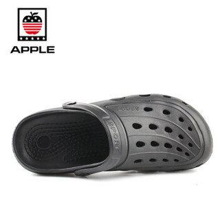 APPLE 苹果鞋 透气防滑软底镂空洞洞一脚拖凉鞋男 XDB-1705 黑色 42