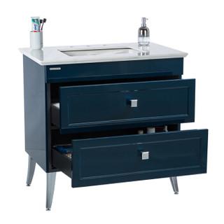 美标卫浴雅居经典CC90落地式双抽屉浴室家具(黛蓝8'孔,台下盆)