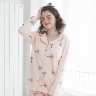 诺宜 月子服哺乳衣月子装棉孕产妇家居服睡衣J38115粉色XL