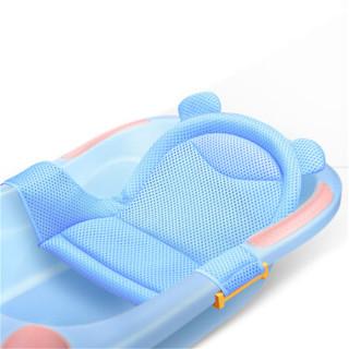 小哈伦婴儿浴网通用防滑沐浴架宝宝浴盆支架新生儿洗澡网兜 纯洁蓝