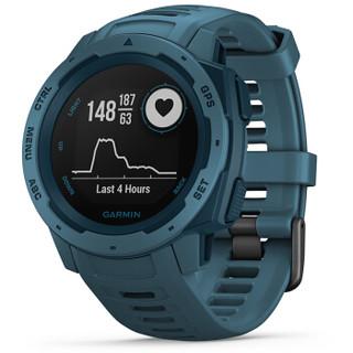 佳明 GARMIN instinct本能 GPS蓝牙多功能跑步智能运动表智能心率防水军表 湖滨蓝