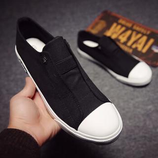 高尔普(GOLDPOOL)时尚简约套脚休闲帆布鞋男 18108GEP61302 黑色 43