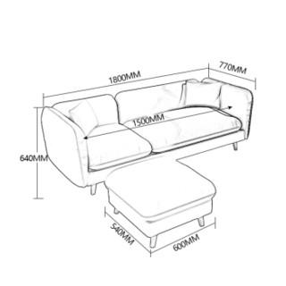 奈高北欧布艺沙发客厅家具沙发组合套装现代简约大小户型布艺沙发3+脚踏- 蓝色