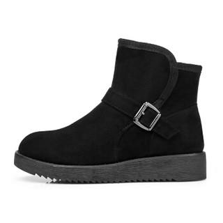 ARIOUULSS 阿偶 雪地靴女韩版加绒保暖舒适厚底时尚皮带扣装饰J751630022 黑色 36