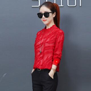 丽乔 2019春季新款打底衫女韩版时尚洋气内搭长袖t恤小衫宽松新品女装上衣 HZ2035-1836 红色 S