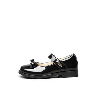 意尔康童鞋儿童皮鞋学生女童单鞋黑色2019春季新品蝴蝶结校园小皮鞋ECZ8723613 黑色 31