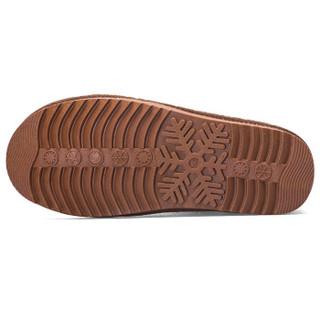 Double Star 双星 女短筒雪地靴加绒加厚保暖防滑耐磨平底韩版潮棉鞋 982009  驼色(女款) 39