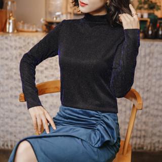欧偲麦 高领打底衫女加绒网纱长袖冬款女士上衣2018新款加厚百搭气质女装时尚韩版 ZY-3081-10 蓝色加绒 XL