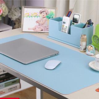 玲魅 双面双色鼠标垫大号 办公游戏桌垫超大写字台书桌垫 桌面防水鼠标垫 90*45CM天蓝色+粉色