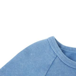 Gap旗舰店 女装加绒打底卫衣350905 女士通勤圆领内搭套头上衣 半岛蓝色 XS