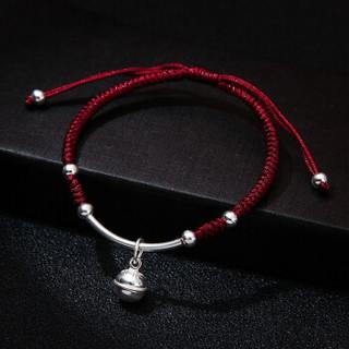 千寻海风(Findwind) S990足银转运珠铃铛编织红绳手链男女款本命年手绳情人节礼物送女友生日礼物 红色铃铛