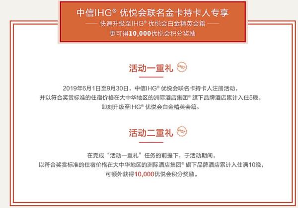 洲际(IHG) X 中信金卡