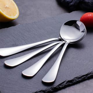 阳光飞歌 不锈钢餐具 西餐冰淇淋主餐勺子咖啡勺圆形饭勺大号 0768